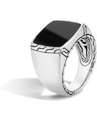 John Hardy - Men's Batu Classic Chain Silver Signet Ring Size 10 - Lyst