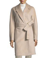 Fleurette - Kimono-sleeve Notched-collar Wool Wrap Coat - Lyst