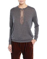 Brunello Cucinelli - Monili Henley Cashmere-silk Pullover Sweater - Lyst