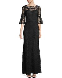 Aidan Mattox - Embroidered Bell-sleeve Gown - Lyst