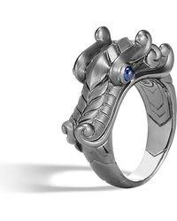 John Hardy - Men's Legends Naga Dragon Silver Ring W/ Sapphires - Lyst