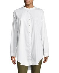 Eileen Fisher - Mandarin-collar Stretch-lawn Button-front Shirt - Lyst