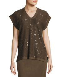Misook Collection - Cap-sleeve V-neck Sequined Knit Tunic - Lyst