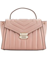 8d65b809ac36 MICHAEL Michael Kors - Whitney Medium Quilted Leather Satchel Bag - Rose  Hardware - Lyst