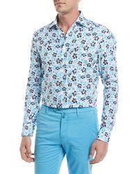 Kiton - Floral-print Cotton Sport Shirt - Lyst