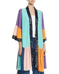 Figue - Nisha Colorblocked Sequin-trim Peplum-hem Kimono - Lyst