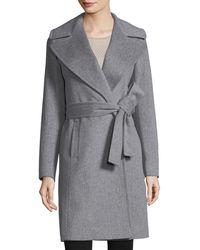 Fleurette - Notched-collar Wool Wrap Coat - Lyst