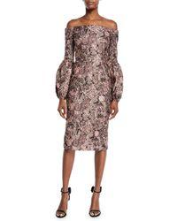 THEIA - Metallic Blouson-sleeve Dress - Lyst