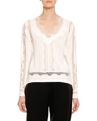 Ermanno Scervino - Long-sleeve Lace-inset V-neck Sweater - Lyst