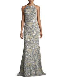 Badgley Mischka - Mermaid Sequin & Velvet Long Evening Gown - Lyst