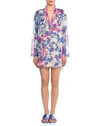 Emilio Pucci - V-neck Long-sleeve Hydrangea-print Cotton Gauze Kaftan - Lyst