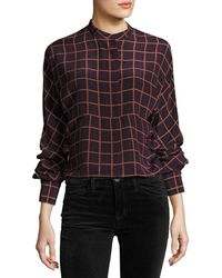 Theory - Perfect Dolman York Plaid Blouse Top - Lyst
