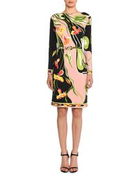Emilio Pucci - Boat-neck Long-sleeve Water Lily Print Shift Dress - Lyst