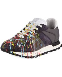 Maison Margiela - Men's Replica Paint-splatter Suede-trim Running Sneakers - Lyst