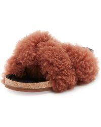 Chloé - Shearling Fur Flat Slide Sandal - Lyst