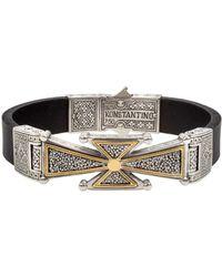 Konstantino - Men's Stavros 18k Gold Cross Leather Cuff Bracelet - Lyst