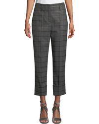 Brunello Cucinelli - Metallic Plaid Wool Flannel Straight-leg Cuffed Pants - Lyst