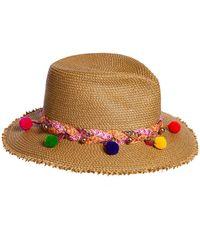 Eric Javits - Corfu Woven Sun Hat W/ Braided Pompom Detail - Lyst