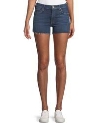 Mother - Charmer Frayed Denim Shorts - Lyst