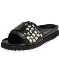 Alexander McQueen - Men's Studded Leather Slide-on Sandals - Lyst
