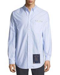 Alexander Wang - Longline Logo Embroidered Shirt - Lyst