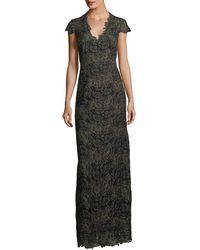 Elie Tahari - Meena Metallic Lace Column Gown - Lyst