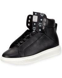 MCM - Men's Visetos-trim Leather High-top Sneakers - Lyst