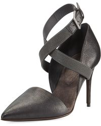 Brunello Cucinelli - 85mm Leather Pump With Monili Ankle Wrap - Lyst