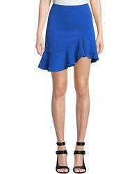 Alice + Olivia - Cobalt Marcella Asymmetrical Ruffle Skirt - Lyst