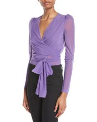 Diane von Furstenberg - Long-sleeve Sheer Drape Jersey Wrap Bodysuit - Lyst