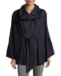 Sofia Cashmere - Cashmere Cape W/ Cross Cut Mink Fur Collar - Lyst