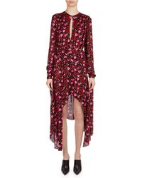 Magda Butrym - Gela Floral-print Silk High-low Midi Dress - Lyst