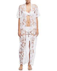 Miguelina - Priscilla Mirage Allover Lace Kimono Coverup - Lyst