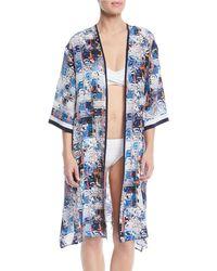Shan - Aqua Blue Silk Kimono Coverup - Lyst