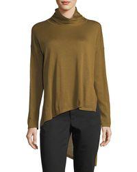 Eileen Fisher - High-low Ultrafine Merino Wool Top - Lyst