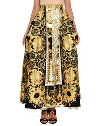 Versace - Baroque-print Ball Skirt With Lace Inset - Lyst
