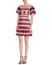 Aijek - Fit-&-flare Floral Striped Mini Dress - Lyst