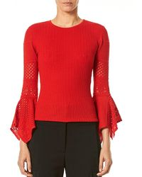 Carolina Herrera - Open-knit Sleeve Jumper - Lyst