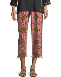 Figue - Batik-print Straight-leg Cropped Crepe De Chine Pants - Lyst