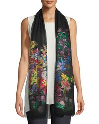 Etro - Sheer Floral-embroidery Scarf - Lyst