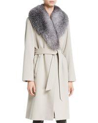 Sofia Cashmere - Fur Shawl-collar Long Wrap Coat - Lyst 8b40ce74672a