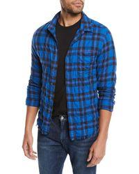 9d0a81832 FRAME - Men's Button-front Long-sleeve Plaid Work Shirt W/ Frayed Hem
