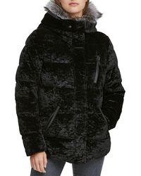 Andrew Marc - Vara Crushed Velvet Down Jacket W/ Fur Hood - Lyst