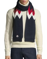 Moncler - Tricot Intarsia Wool And Cashmere-blend Scarf - Lyst