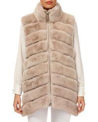 Gorski - Horizontal Rex Rabbit Fur Reversible Zip-front Vest - Lyst