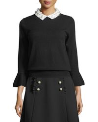 Kate Spade - Pearly Collar Bell-cuff Sweater - Lyst