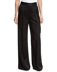 T By Alexander Wang | Satin Suiting Wide-leg Wrap-front Pants W/ Side-tie | Lyst