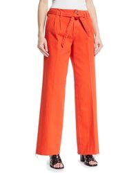 J Brand - Tie-waist Wide-leg Jeans W/ Raw-hem - Lyst