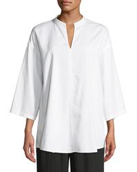 Eileen Fisher 3/4-sleeve Soft Organic Cotton Twill Shirt - White