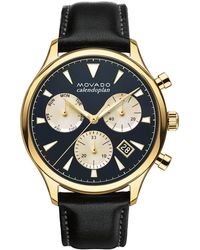 Movado - Heritage Stainless Steel And Leather Watch - Lyst